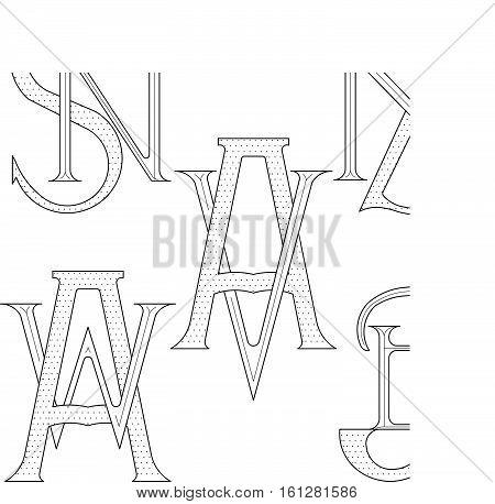 Set of elegant monograms with two letters. SN ZN AV AW JB. Monogram logo identity for author, photographer, restaurant, hotel, heraldic, jewelry.