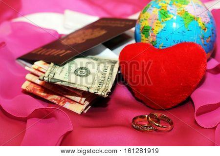 honeymoon trip, honeymoon, golden wedding rings, red heart
