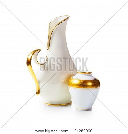 Two antique white porcelain vases on white background. Small objects group clipping path included