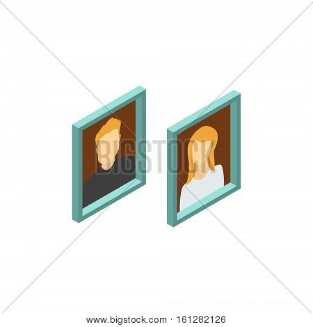 Photo frame isometric icon or logo. 3d vector illustration of photo frame. Isometric vector furniture. Element of home interior for web design, mobile app, infographic. Vector isometric icon of photo