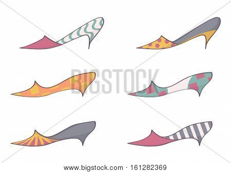 Set of trendy, colorful stilettos for women. Fashionable collection of female high heels shoes, vector illustration, isolated on white background.