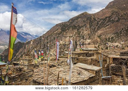 Upper Pisang village on the Annapurna Circuit Trek in the Himalayas, Nepal