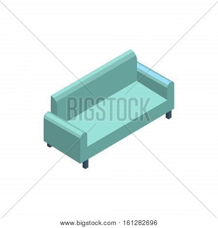 Sofa isometric icon or logo. 3d vector illustration of sofa. Isometric vector furniture. Element of home interior for web design, mobile app, infographic, etc. Vector isometric icon of sofa