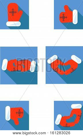 Christmas mitten signs: like, dislike, love, hello, high five, friendship. Santa's gloves. Vector Merry Christmas thumbs up. Icon, logo.