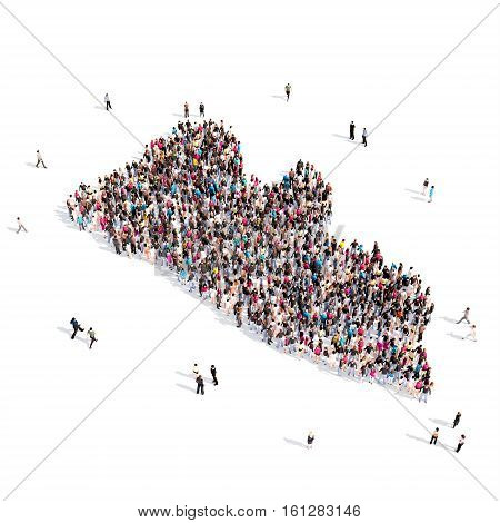 Large and creative group of people gathered together in the form of a map Liberia. 3D illustration