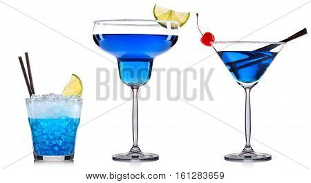 Blue cocktail in glass isolated on white background.