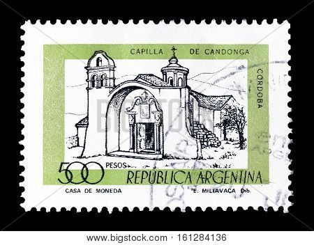ARGENTINA - CIRCA 1977 : Cancelled stamp printed by Argentina, that shows Candonga Chapel.
