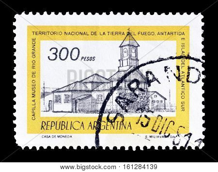 ARGENTINA - CIRCA 1977 : Cancelled stamp printed by Argentina, that shows Chapel of Rio Grande.