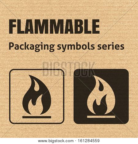 Flammable Packaging Symbol On A Corrugated Cardboard Background. For Use On Cardboard Boxes, Package