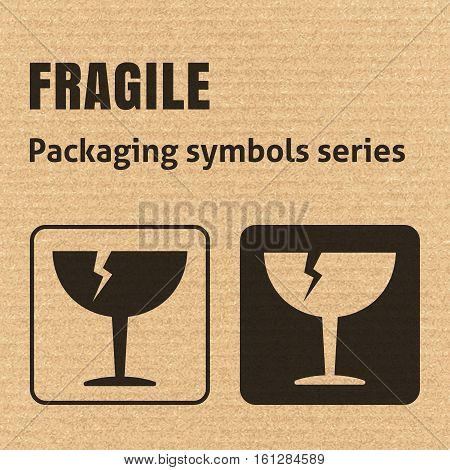 Fragile Or Breakable Material Packaging Symbol On A Corrugated Cardboard Background. For Use On Card