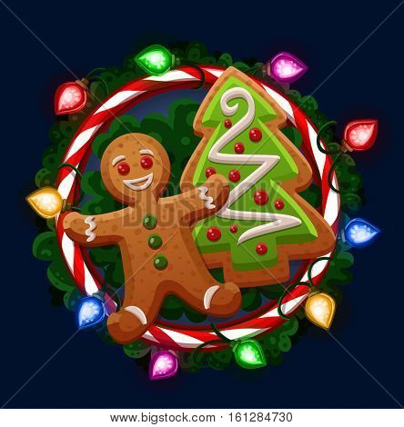 Christmas cookies in frame. Vector illustration