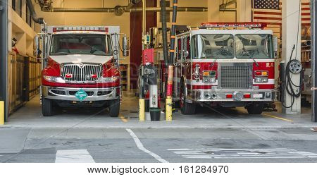 Fire truck in the firehouse in San Francisco