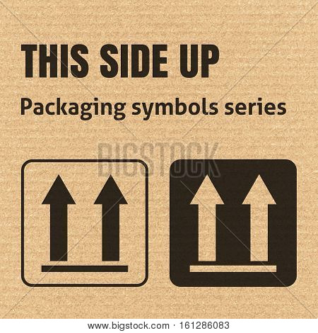 THIS SIDE UP packaging symbol on a corrugated cardboard background. For use on cardboard boxes packages and parcels. EPS10 vector illustration