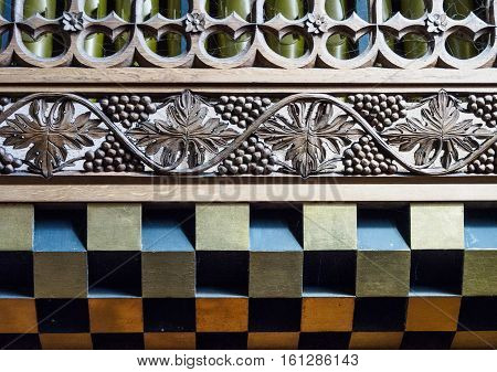 Intricate and colourful detail of a church organ from a church dating from the 12th century.