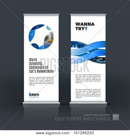 Abstract business vector set of modern roll Up Banner stand design template with blue circle, round for exhibition, fair, show, exposition, expo, presentation, festival, parade, events.
