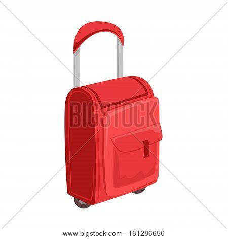 Small Red Suitcase With Pockets On Wheels With Telescopic Handle Item From Baggage Bag Cartoon Collection Of Accessories. Personal Travel Luggage Piece Isolated Vector Icon.
