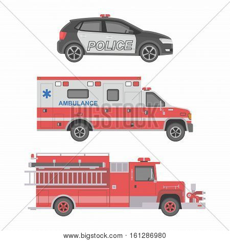 Cars. Police, ambulance and fire truck. Vector flat illustration