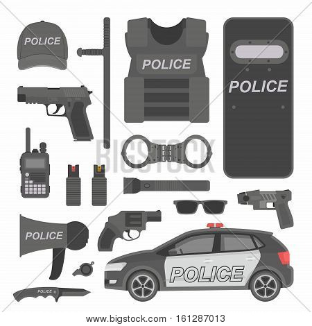 Police and law enforcement vector icons, flat design