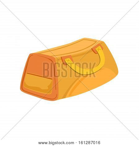 Yellow And Beige Sports Handbag Item From Baggage Bag Cartoon Collection Of Accessories. Personal Travel Luggage Piece Isolated Vector Icon.
