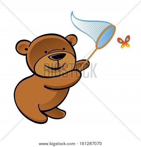 Teddy bear with net chasing little butterfly