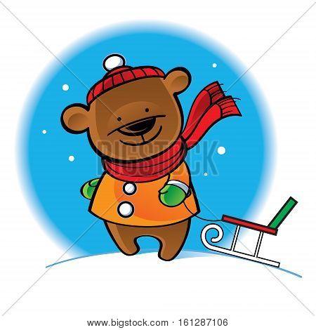 Bear in warm coat with sleigh - winter scene