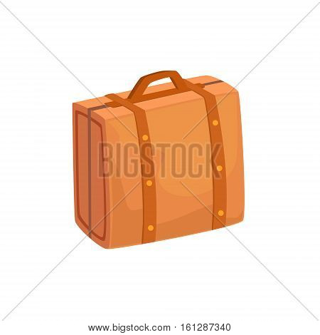 Old-School Man Leather Handbag Case Item From Baggage Bag Cartoon Collection Of Accessories. Personal Travel Luggage Piece Isolated Vector Icon.