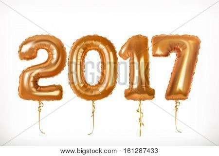 Golden toy balloons. Happy New Year 2017. 3d vector icon
