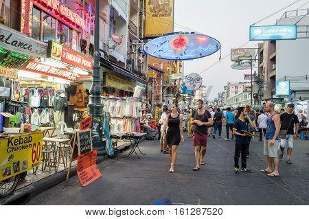 BANGKOK, THAILAND - FEBRUARY 23, 2016: Khao San Road by night in Bangkok.  Khao San Road is a world famous backpacker street.