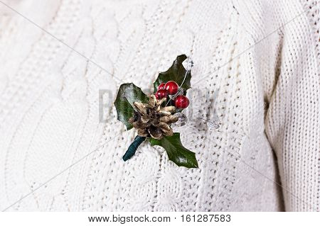 Christmas Decoration. Christmas Boutonniere.