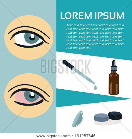 Vector template. Redness of the eye drops and contact lenses. Place for text.