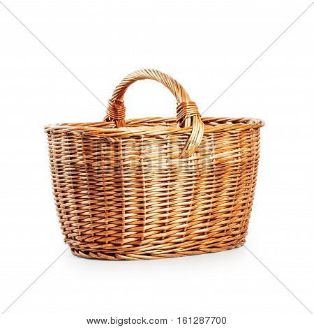 Empty wicker basket. Single object isolated on white background with clipping path