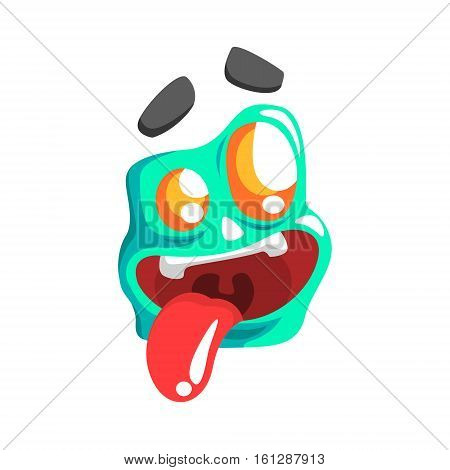 Silly Blue Emoji Cartoon Square Funny Emotional Face Vector Colorful Isolated Sticker. Comic Childish Character Head With Facial Expression For Emoticon Icon.