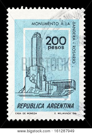 ARGENTINA - CIRCA 1977 : Cancelled stamp printed by Argentina, that shows Flag monument.