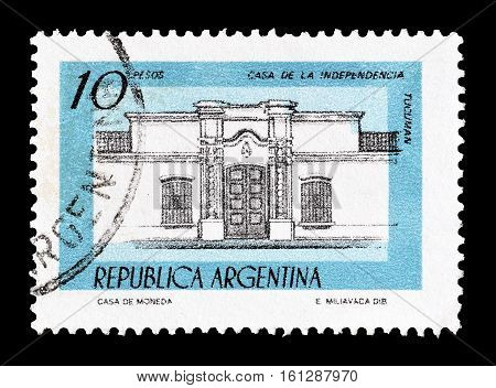 ARGENTINA - CIRCA 1977 : Cancelled stamp printed by Argentina, that shows Independence hall.
