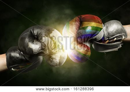 Tolerance versus Intolerance symbolized with Boxing Gloves