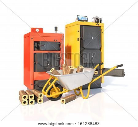 Solid fuel boilers with briquettes of solid fuel. Isolated on white background. 3d illustration