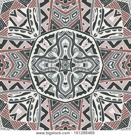 Abstract ndian mosaic motif seamless pattern. Bohemian Geometric print