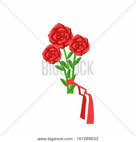 Red Roses Flower Bouquet Tied With Red Ribbon, Flower Shop Decorative Plants Assortment Item Cartoon Vector Illustration. Natural Floral Composition From Florist Store Isolated Item.