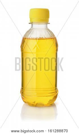 Plastic bottle of lemon syrop isolated on white