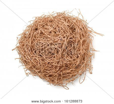 Top view of shredded brown paper filler isolated on white