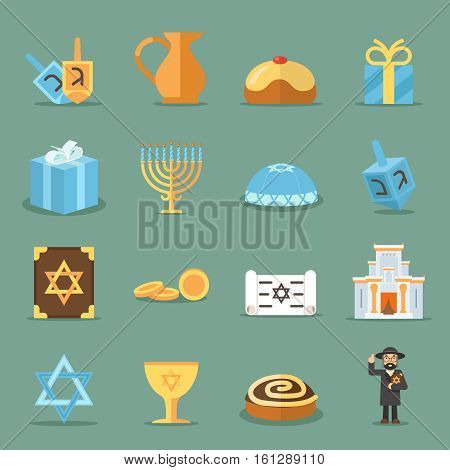 Jewish flat icons. Israel and judaism vector symbols with rabbi, torah and synagogue. Jewish elements set candle and david star illustration