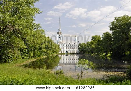 The Park and pond near the Church of Peter and Paul