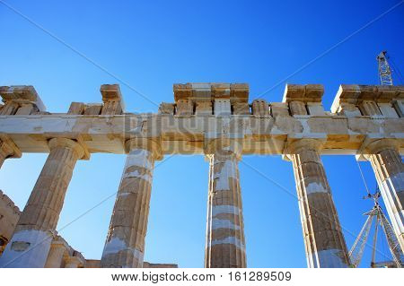 Greek columns of the Parthenon in Athens