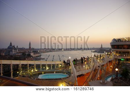 View over Venice from Cruise ship, Venice