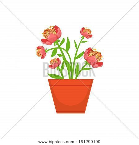 Home Bushy Red Flower In The Flowerpot, Flower Shop Decorative Plants Assortment Item Cartoon Vector Illustration. Natural Floral Composition From Florist Store Isolated Item.