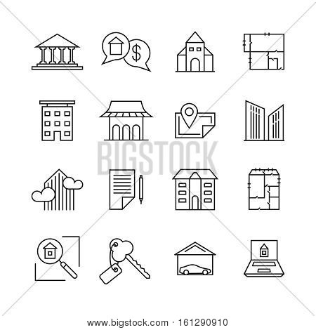 Commercial real estate linear icons. Property for sale line signs. Building sell, property home rent illustration