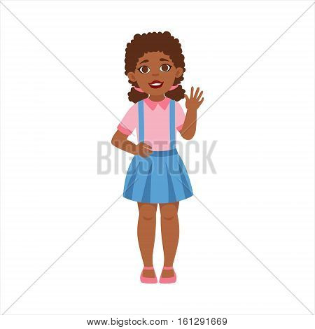 Black Teenage Girl Waving, Part Of Growing Stages With Kids In Different Age Vector Set. Cartoon Character Development Process Stage Collection Piece Vector Illustration.