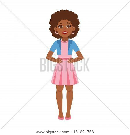 Black Young Woman Standing, Part Of Growing Stages With Kids In Different Age Vector Set. Cartoon Character Development Process Stage Collection Piece Vector Illustation.. Cartoon Character Development Process Stage Collection Piece Vector Illustration.