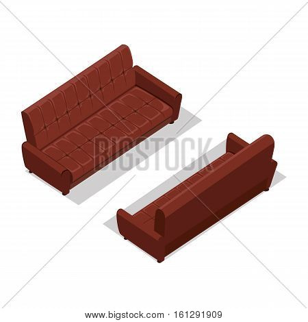 Leather sofa on two sides vector in isometric projection. Comfortable furniture illustration for stores ad, app icons, infographics, logo, web and games environment design. Isolated on white background