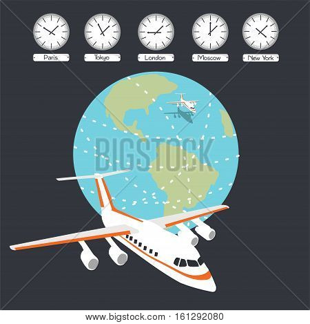 Vector illustration. Airplane, earth and time zones.